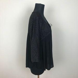 Vanilla Star Tops - NWT VANILLA STAR crochet peasant black blouse 1X